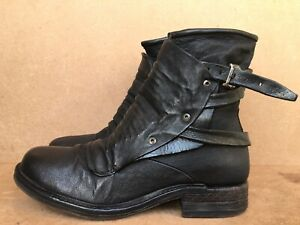 A.S.98 Italian Leather Black Boho Biker Boots Sz EUR 40 | US 8.5-9 | UK 7