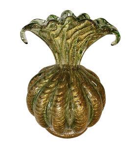 VINTAGE BAROVIER & TOSO MURANO ITALIAN ART GLASS CORDONATO ORO VASE GREEN GOLD