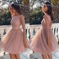 Women's Sequins Backless Cocktail Mini Dress Evening Party Tutu Sundress Prom