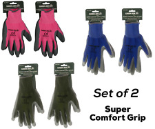 GARDENING GLOVES Anti-Slip Hand Protection Latex Coated Gloves Unisex Set of 2