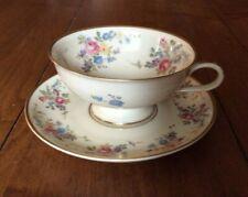 Vintage Thomas Ivory Bavaria Germany Floral footed Tea Cup & Saucer gold trim