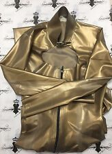 R0475 Rubber Latex CATSUIT with BUCKLE NECK **GOLD** 8 UK Slight Seconds