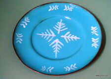 Vintage Enamel on Copper Snow Flake Plate Tray Unsigned Blue White 5 3/4 inch.