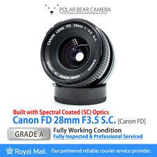 ⭐SERVICED⭐ CANON FD 28mm F3.5 SC Wide Angle Prime fits FD/FL + Caps [GRADE A]
