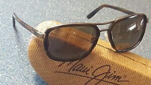 Maui Jim Wanderer Marbled Brown Bronze  Designer Sunglasses Made in Italy Case