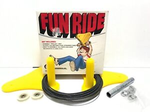 VINTAGE FUN RIDE TROLLEY ZIP LINE 35ft Spring Swings Original NEW FUN KIDS TOY