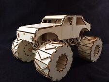 Laser Cut Wooden Monster Truck 3D Model/Puzzle Kit