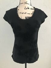 Ann Taylor LOFT XS Black Shirt Embellished w/ Flowers Tee Blouse Top