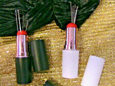 WHITE LIPSTICK COMPACT NEEDLE HOLDER PINCUSHION~5 hand sewing needles