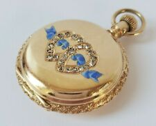 19th Century ELGIN 14K GOLD Hunter Case DIAMONDS Pendant Pocket Watch
