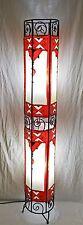 Pintado Marroquí Henna Lámpara De Pie-Tubo Redondo-Rojo y Crema 130CM