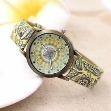 2lady Women Boho Flower Retro Leather Strap Digital Dial Quartz Gold Wrist Watch Red