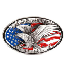 Eagle and Flag Belt Buckle Western Cowboy Native American Motorcyclists (XEG-02)