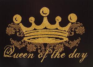 "Postkarte+U. ""Queen of the day""Grußkarte*Geburtstag*Frau*schwarz*gold*Krone*edel"