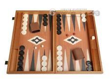 19-inch Wood Backgammon Set - Mahogany with Printed Field and Side Racks