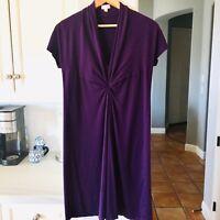 Veronique Maternity Short Sleeve Twistknot  Purple Knit Dress Size Small