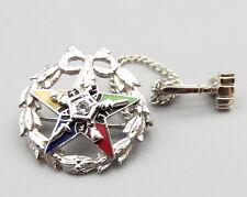 Vtg 10K White Gold Order Eastern Star Brooch Pin Tie Tack Badge Diamond Enamel