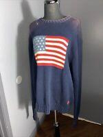 VTG Polo Ralph Lauren American Flag 100% Cotton Sweater Iconic Size XL