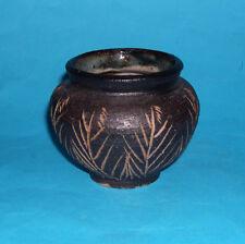 Studio Pottery - Attractive Cut Pattern With Coarse Glaze - Posy Vase (Signed).
