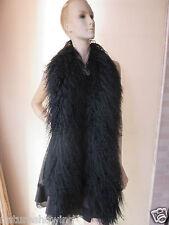 Elegant Fashion hand-made real mongolian Lamb fur overlength scarf/ cape Black