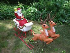 Vintage Blow Mold POLORON Santa on Sleigh w Two Reindeer ~Xmas Yard Decor Lights