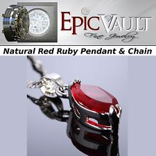 EPIC Natural Red Ruby on 18k White Gold plated w/ Sterling Silver Chain
