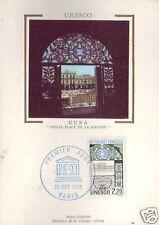 S89+ FDC CARTE 1er JOUR  SUR SOIE UNESCO CUBA