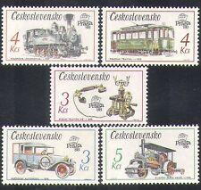 Checoslovaquia 1987 Vapor/Tren/Rail/coche/tranvía/mail Van/Transporte 5v Set (n38265)