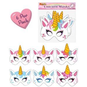 6 Cardboard Unicorn Masks Party Loot Bag Filler Pinata Kids