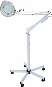 D Salon Adjustable Facial 5x Magnifying Lamp with Rolling Floor Stand