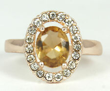 Women's 18 Carat Rose Gold Plated Champagne Zircon Ring UK Size T Jewellery