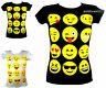 T-Shirts Emoji Tops Emoticons Happy Faces Short Sleeve Kids Girls Age New 7-13 Y
