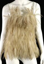 YVES SAINT LAURENT Vintage Brown Ostrich Feather Crystal Strap Top 38