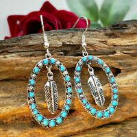 Vintage 925 Silver Dangle Earrings Turquoise Leaf Ear Hook Women Wedding Jewelry