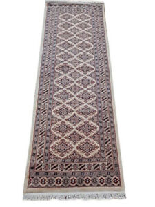 Soft Looking Runner Rug Ivory 2 ft 6 in x 7 ft Jaldar 28 x 78 in Wool and silk