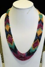 Designer 7 Strand Natural Multi Sapphire,Ruby,Emerald Gemstone Beaded Necklace