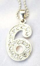 New Bling Rhinestone # 6 Pendant w Ball Chain Necklace US Seller