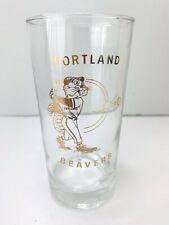 "Portland Beavers BASEBALL GLASS Mascot Pacific Coast League 1960s/70s 5 1/2"" tal"