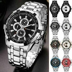 Fashion Men's Stainless Steel Military Business Sports Analog Quartz Wrist Watch