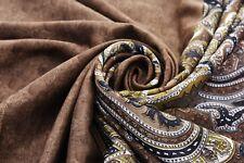 Vintage Indian Saree 100% Pure Silk Embroidered Woven Craft Sari Fabric Brown