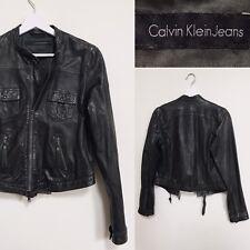 Calvin Klein Jacket Leather Biker Coat Lamb Leather Dark Green S M UK 10 | CK