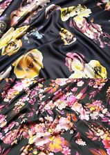 100% Seide Twill Silk Seidenkleid Bluse Kleid Damenkleid Stoff Blumenmuster