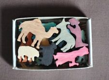 Colorful Mini Match Box Nativity Set  Hand Cut Wooden Christmas Miniature Toy