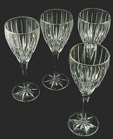 """GOLDEN TIARA by Mikasa Crystal WATER GOBLETS Glasses 8 7/8"""" - Set of 4"""