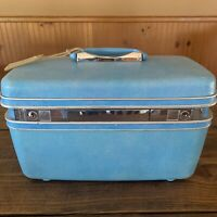 Vintage Samsonite Silhouette Blue Makeup Train case with tray mirror Luggage