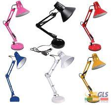 Lampada da scrivania braccio snodabile luce E27 da tavolo base morsetto incluso