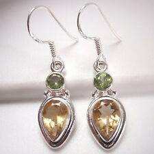 Small Faceted Peridot and Citrine 925 Sterling Silver Dangle Earrings