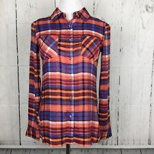 Grace Lace XS Top Shirt Flannel Orange Blue Plaid Button Down Front Long Sleeve