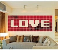 Red 100pcs 2x2cm Acrylic 3D Wall Sticker Mosaic Mirror Effect Home Room