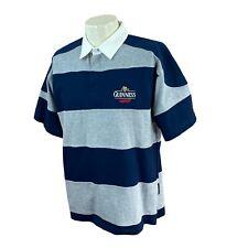 New listing Guinness Beer Men's Short Sleeve Signature Navy Stripe Rugby Shirt NWT Medium